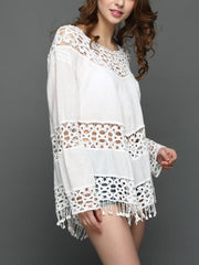 Fringe Patchwork See-Through Crochet  Plain Tunic