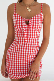 Casual Sleeveless Grid Vacation Mini Dress