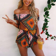 Floral Print Shirring Off Shoulder Romper