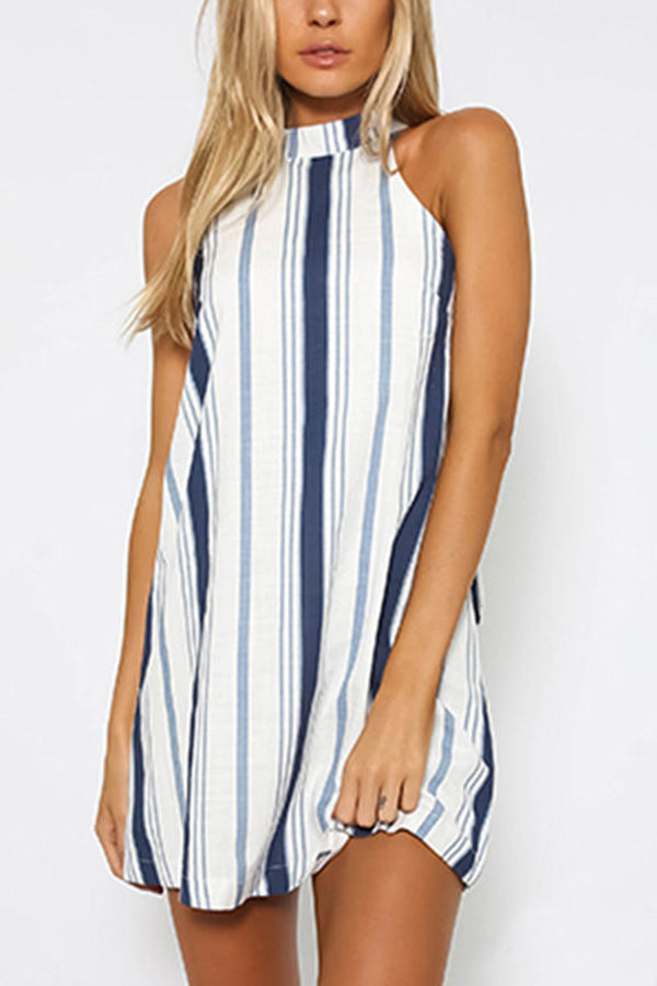 Fashion Stripe Print Sleeveless Halter Mini Dresses