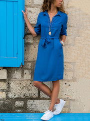Lapel Solid Color Long Sleeve Shirt Shift Dress