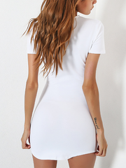 Crew Neck  Asymmetric Hem Cutout  Bust Darts  Plain Bodycon Dresses