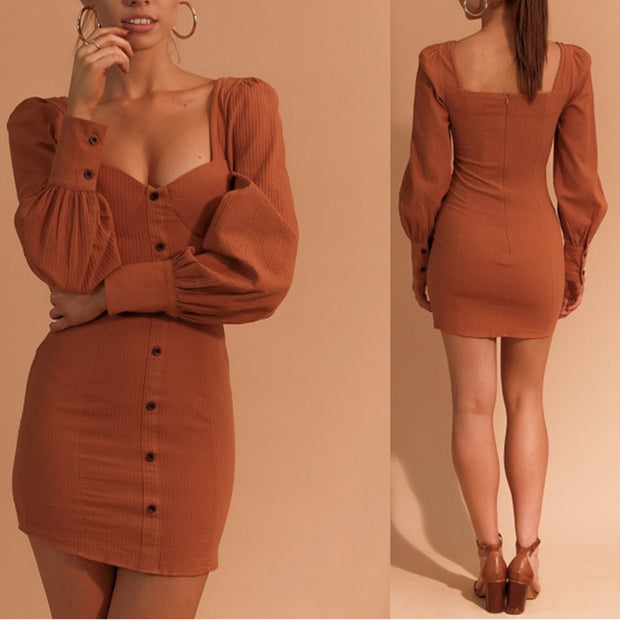 Fashion Sexy Plain Long Sleeve Bodycon Dress
