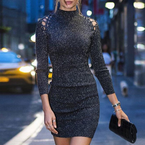 High Neck  Lace-Up  Abstract Print Bodycon Dresses