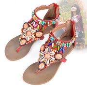 Fashion Bohemia Style Sandal Faux Jewels Flat Sandal
