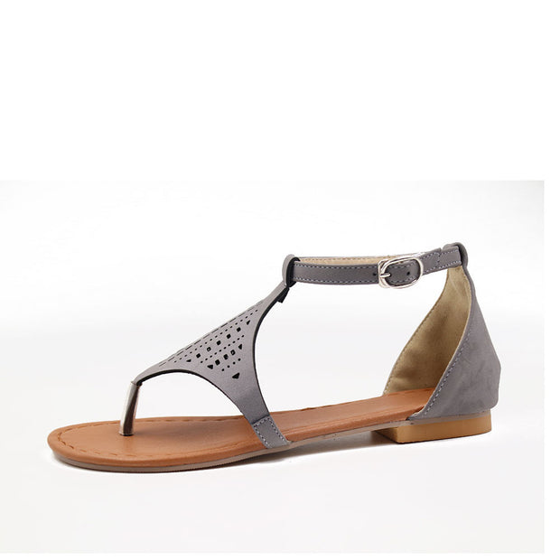 Casual Open Toed Plain Hollow Flat Sandal