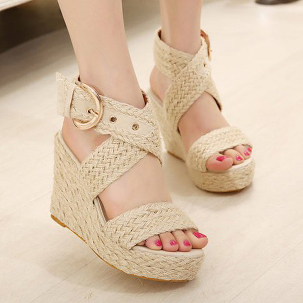 Plain  Peep Toe  Casual Wedge Sandals