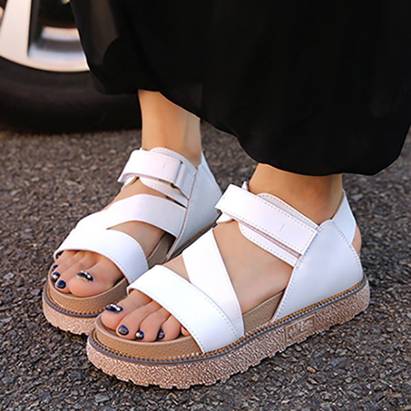 New Elastic Band Thick Bottom Round Head Flat Roman Sandals