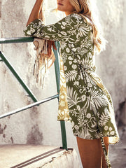 Casual Printed Colour Belted Vacation Cardigan