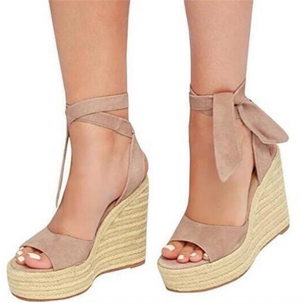 Fashion Wedge   Lace-Up Sandals