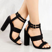 Chunky High Heeled Peep Toe  Date Platform Sandals