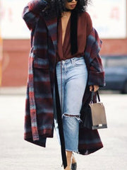 Women's fashion mid-length plaid coat DWQ37