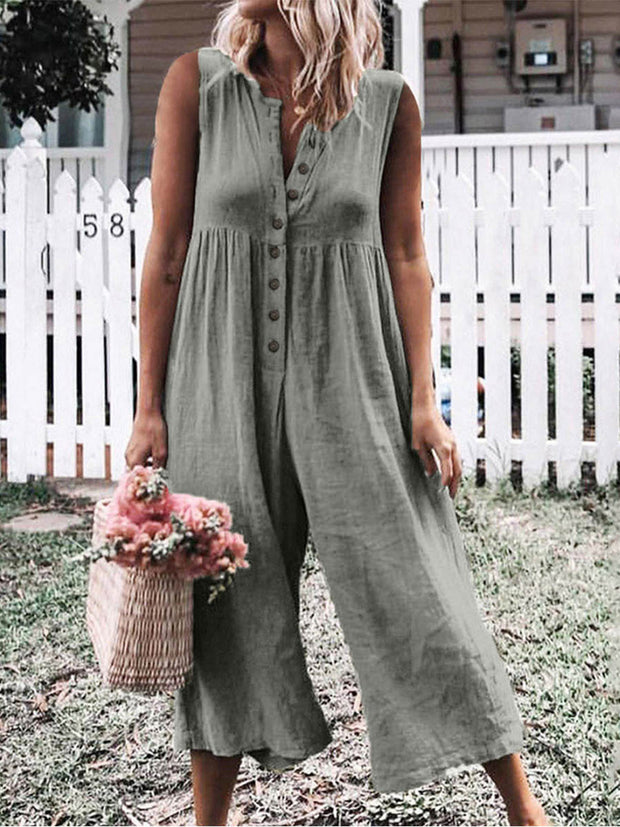 Button Neck Sleeveless Plain Casual Jumpsuits