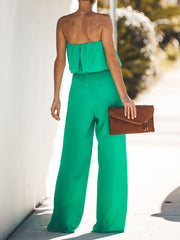 Off Shoulder Plain Elegant Jumpsuits