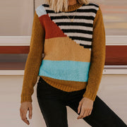 Women's Retro Round Neck Colorblock Sweater RY46