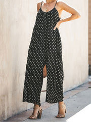 Spaghetti Straps Printed Loose Fashion Jumpsuits