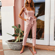 fashion Falbala Shoulder Straps Solid Color Waistband Jumpsuits