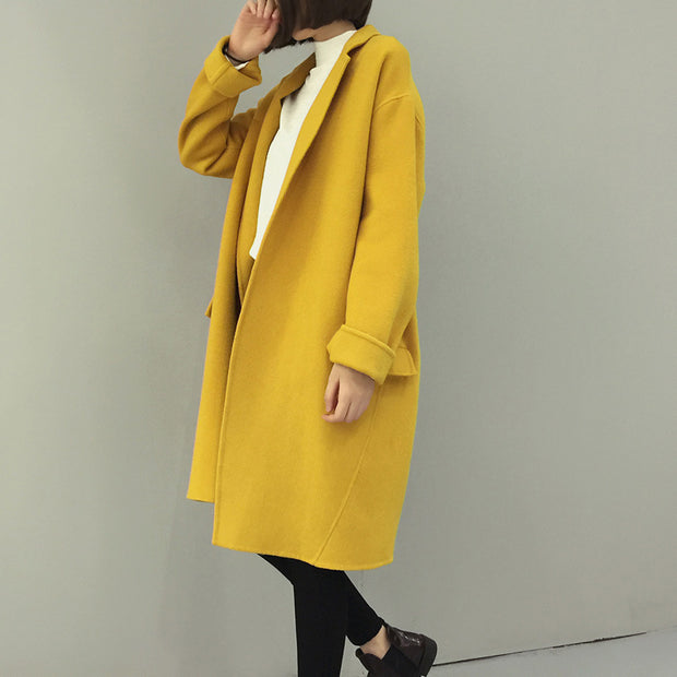 A Long Suit Collar Coat In Plain Color