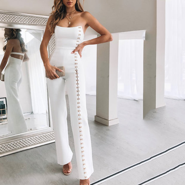 JOJORUBY Fashion Sexy Cross Straps Decorated Jumpsuit