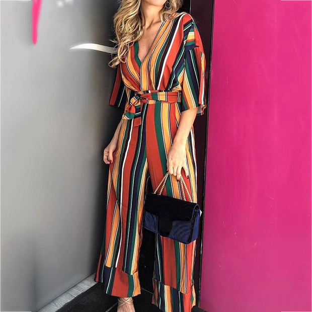Commuting V Neck Chromatic Striped Belted Jumpsuits