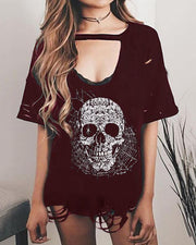 Casual Round Neck Short Sleeve Printed Colour T-Shirt
