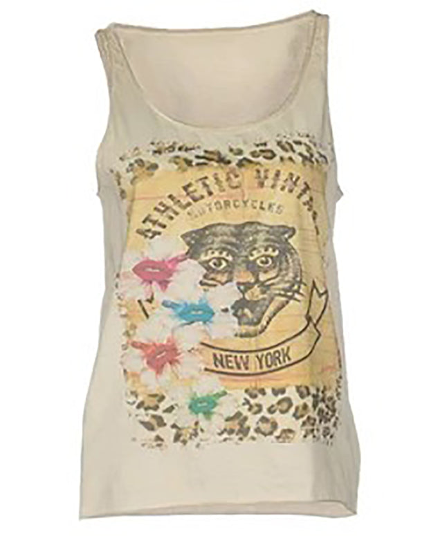 Leisure Round Collar Sleeveless Printed Loose T-Shirt.
