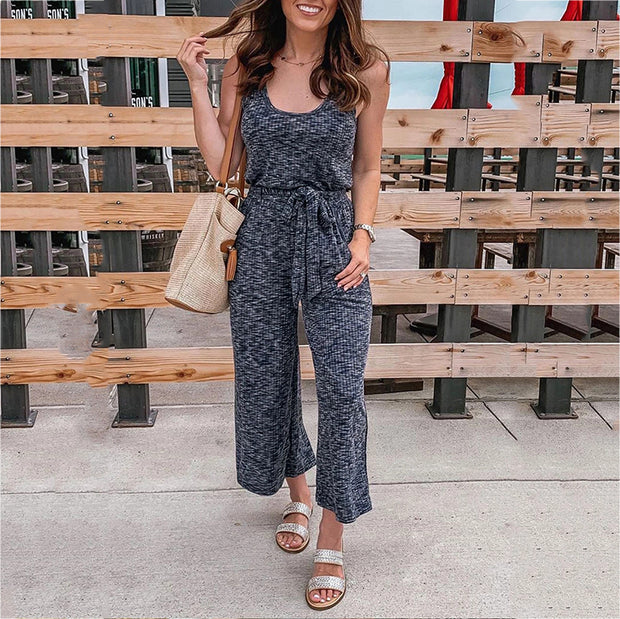 Casual Sleeveless Lace-Up Plain Jumpsuits