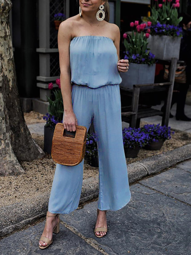Casual Off-Shoulder Sleeveless Pure Colour Jumpsuit