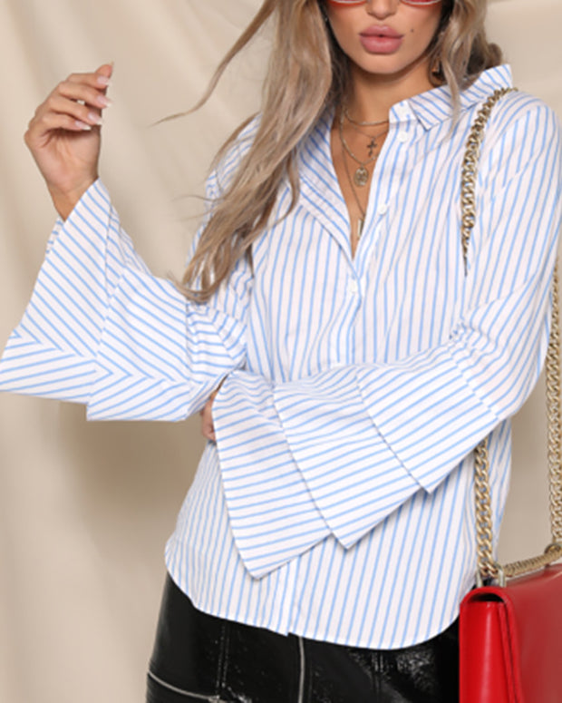 Casual Ruffled Long Sleeve Blouses