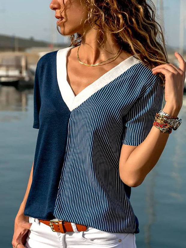 Casual V Neck Contrast Color Stripe T-Shirts