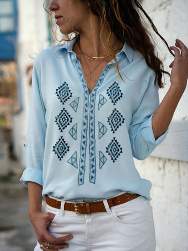 Casual V Neck Cuffed Sleeve Printed Colour Blouse