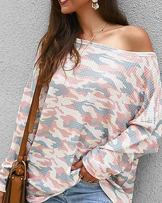 Casual Sloping Shoulder Long Sleeve Printed Colour T-Shirt