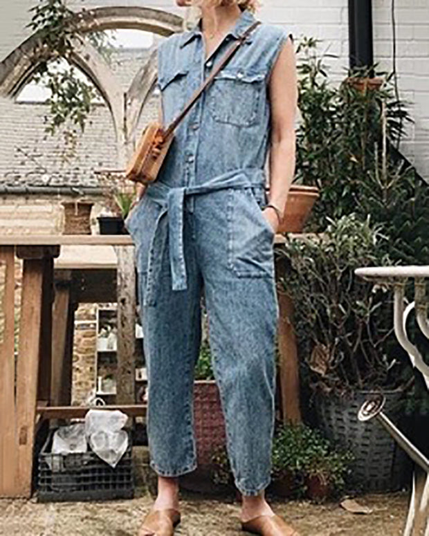 Casual Lapel Sleeveless Jumpsuits