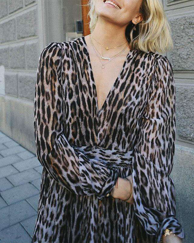 Fashion Sexy Leopard Printed Colour V Neck Long Sleeve Dress