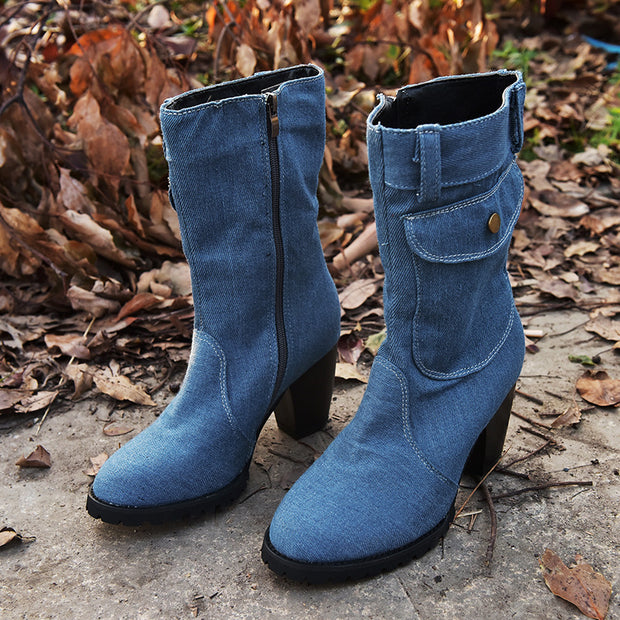 Fashion ladies pure color pocket decoration high-heel mid boots dwq43