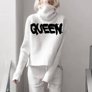 Casual High Neck Long Sleeve Letters Sweater RY52