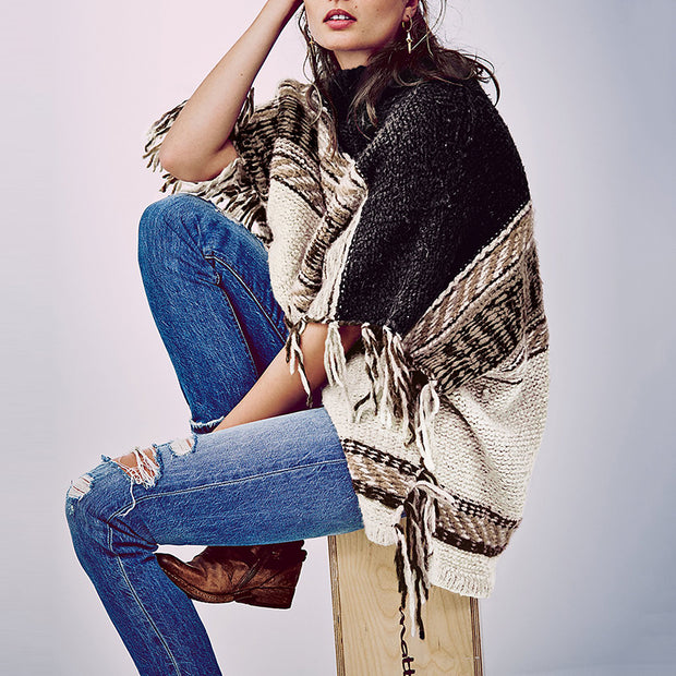 Fashion Turtleneck Casual Print Coat with Fringe Coat BJ75