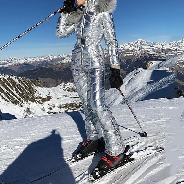 Fashionable solid color patchwork fur collar ski suit
