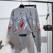 Fashion Casual Embroidered Sweatshirt Two-Piece Set wq34