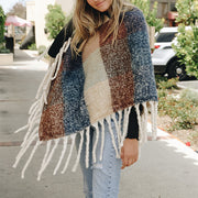 Women's Casual Colorblock Fringe Shawl BJ75