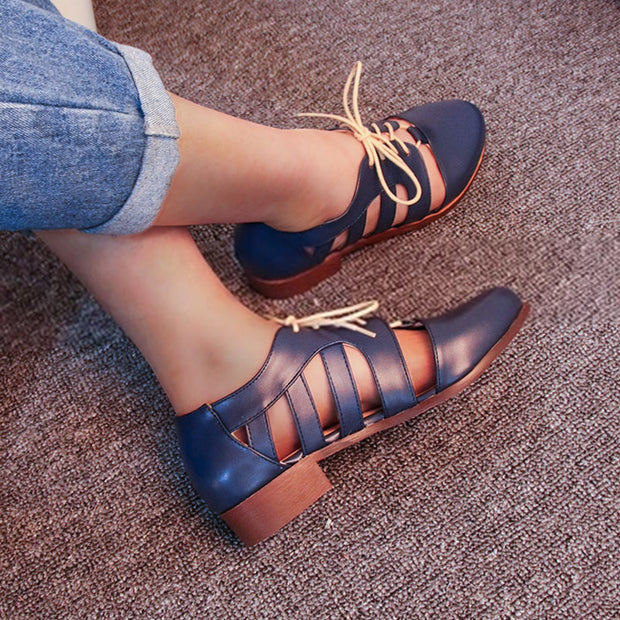Brief Lace-up Hollow Out Round Toe Low Heel Chunky Sandals