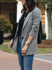 Classic single-button plaid long-sleeve blazer ywy14