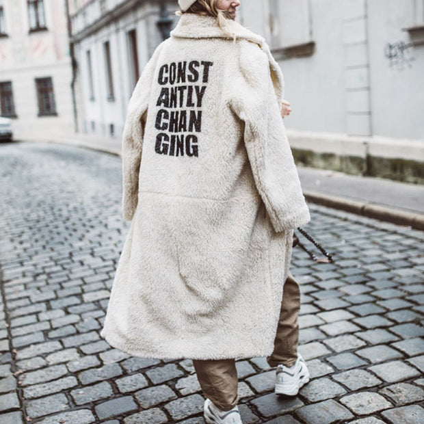 Women's Fashion Simple Long Letter Print Coat