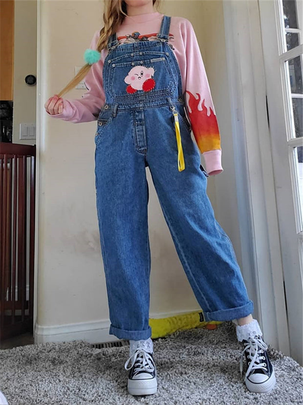 Casual Daily Stitching Cartoon Denim Jumpsuit RS123