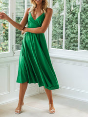 Women's casual green camisole dress wq36