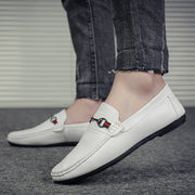 contracted men's pure color leather shoes Loafers