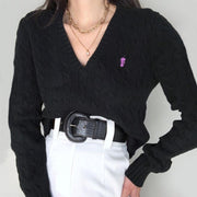 Women's casual V-neck small embroidery Sweater wq04