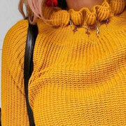 Wooden Ear Collar Long Sleeve Yellow Knit Sweater