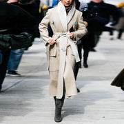 Fashion Elegant Shawl Collar Double-breasted Belt Overcoat Trench Coat