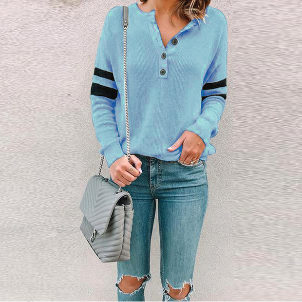 Casual Round Neck Stitching Button Top